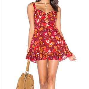 Free People Lattice Lovers Slip Dress Red Small